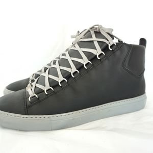 BALENCIAGA Gray Arena Leather High Top Sneakers